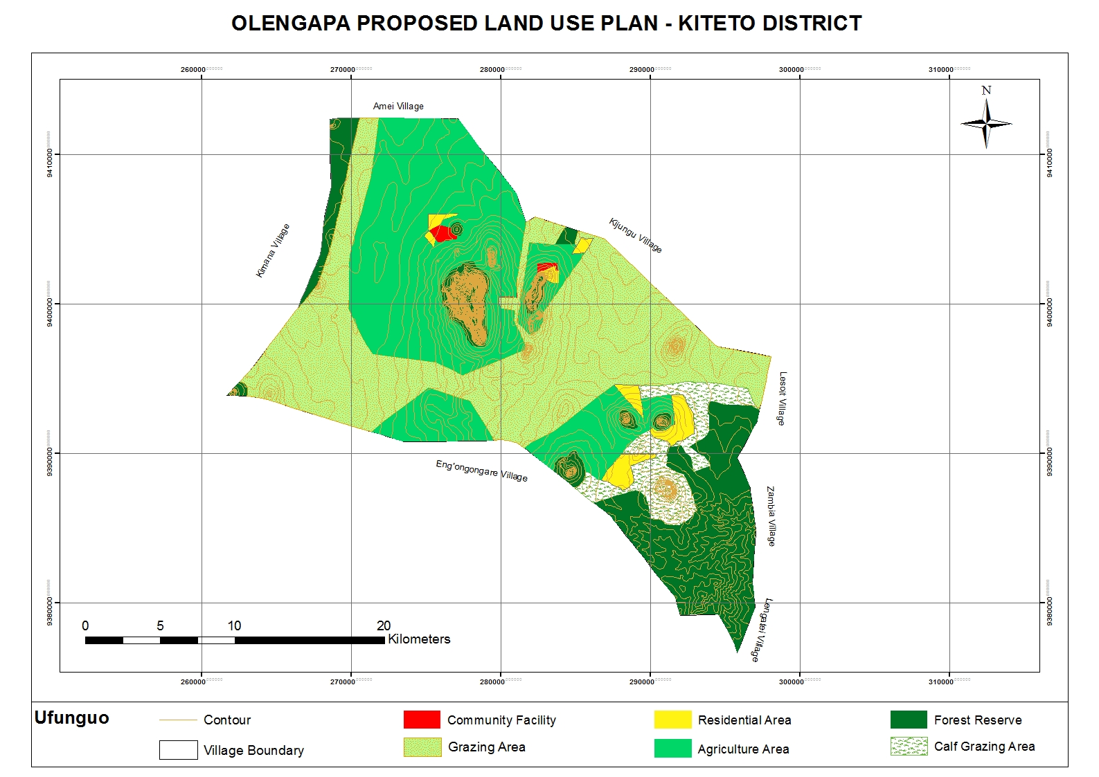 Map of the shared grazing area in OLENGAPA crossing the three villages