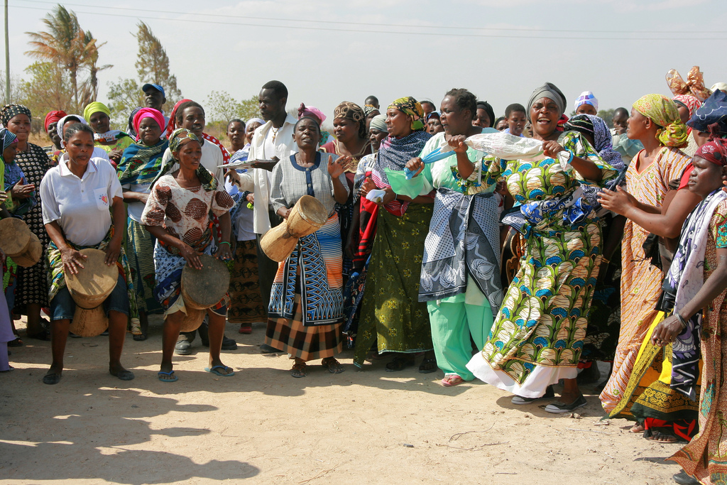 The Sejeseje group of the Tanzania Federation of the Urban Poor, composed of mostly poor women living in slums, celebrates the purchase of six acres of land in Dodoma, using their own savings, before they start building their houses.