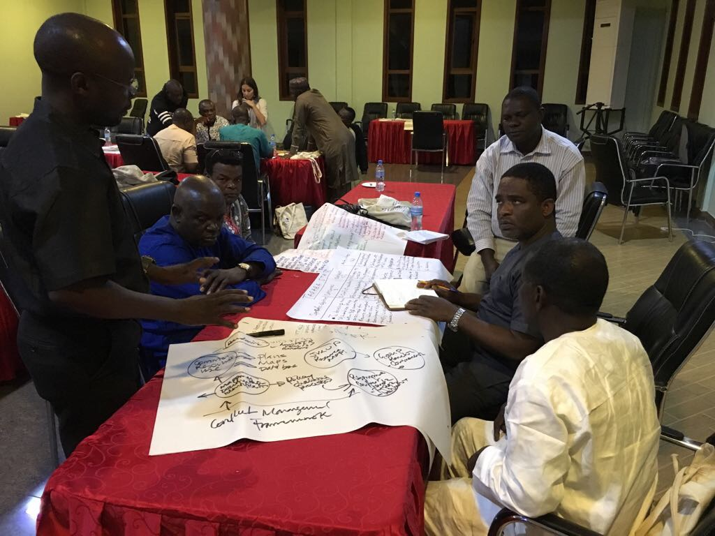 Participants working into the night developing their innovation plans