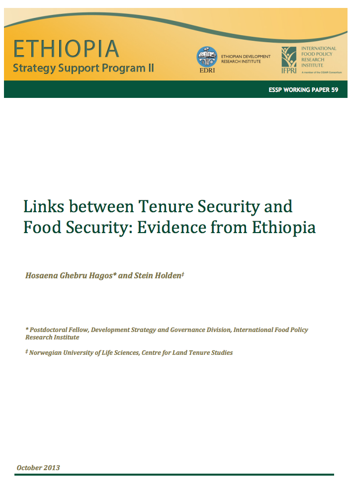 Links between tenure security and food security: Evidence from Ethiopia cover image