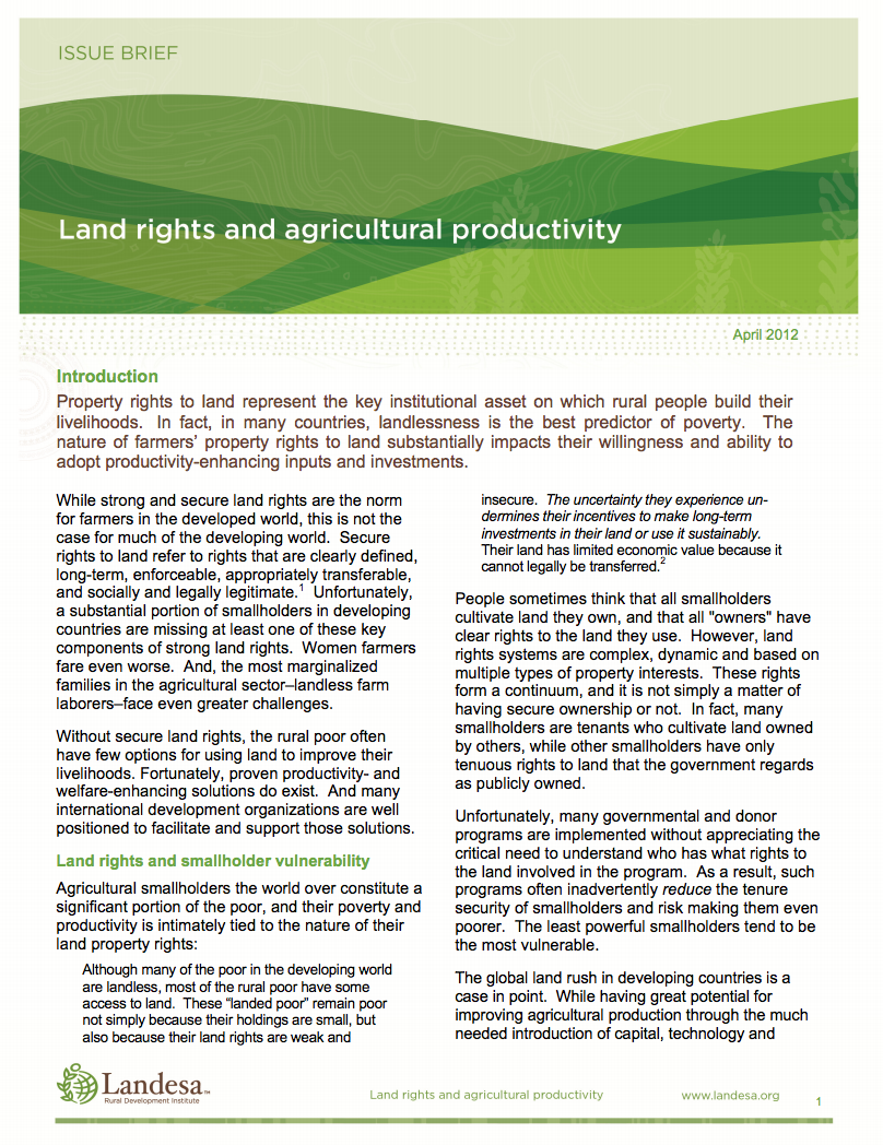 Land Rights and Agricultural Productivity cover image