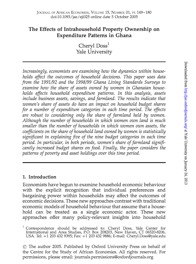 The Effects of Intrahousehold Property Ownership on Expenditure Patterns in Ghana cover image