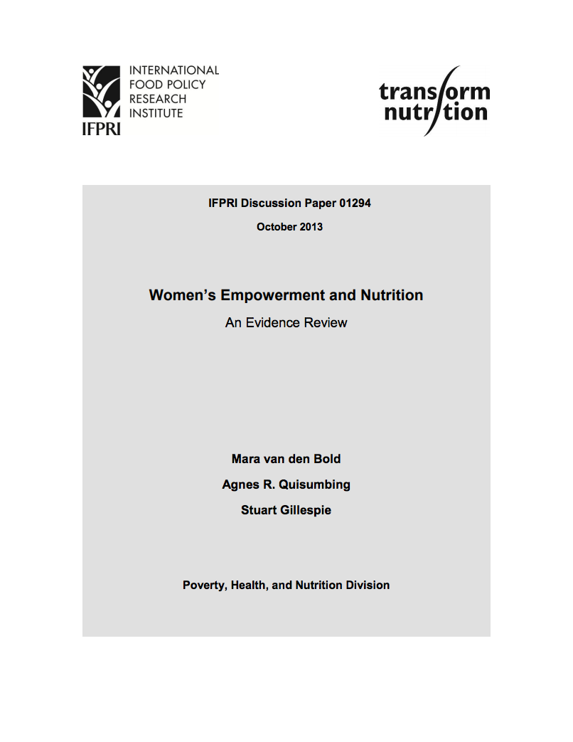 Women's empowerment and nutrition: An evidence review cover image