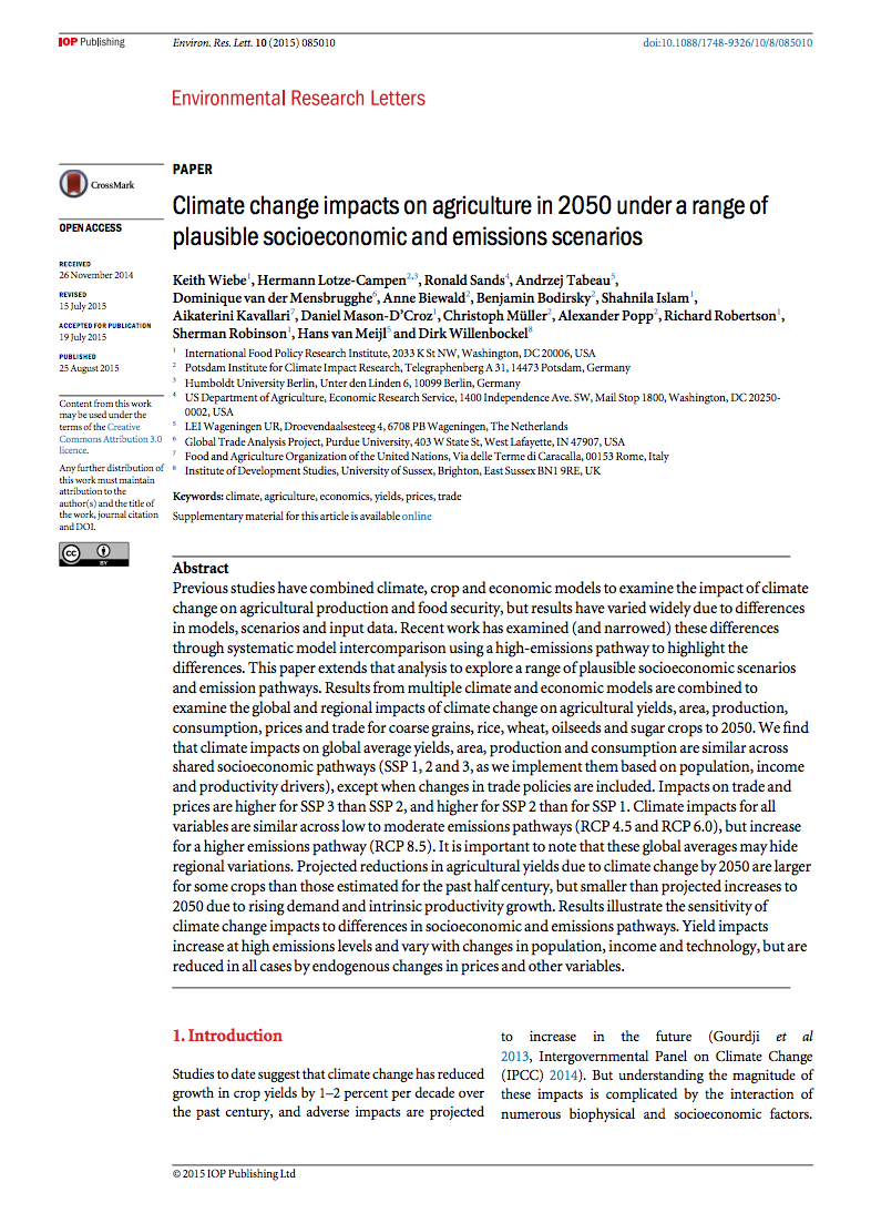 Climate change impacts on agriculture in 2050 under a range of plausible socioeconomic and emissions scenarios cover image