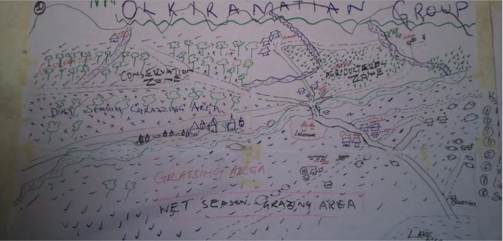Community drawn map of Olkirimatian Group Ranch showing different land use zones