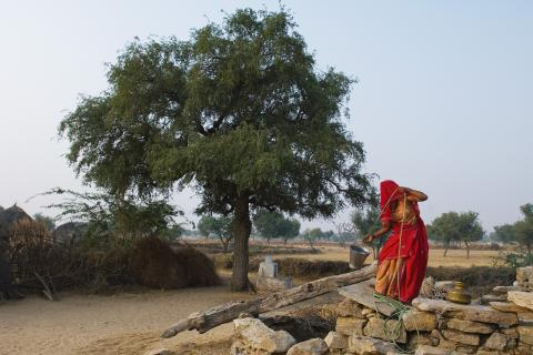 india woman drought