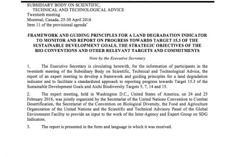 Framework and Guiding Principles for a Land Degradation Indicator cover image