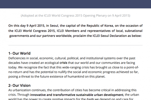 ICLEI Seoul Declaration cover image