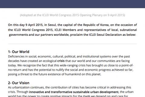 ICLEI Seoul Declaration cover image