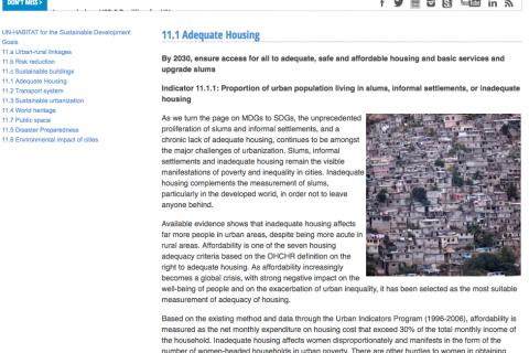 UN-Habitat SDG 11.1 Adequate Housing cover image