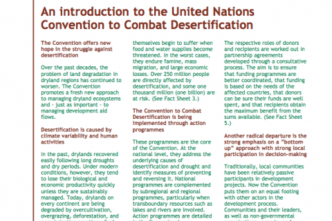 UNCCD Factsheet: An introduction to the United Nations Convention to Combat Desertification cover image