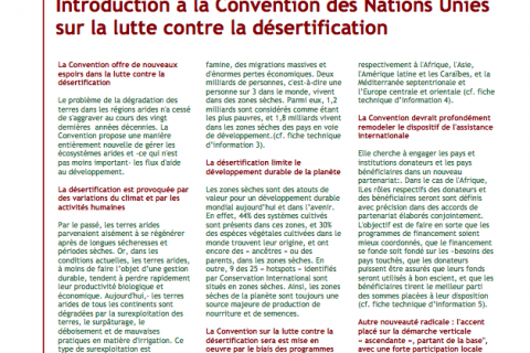 UNNCD Fiche d'information: Introduction à la Convention des Nations Unies sur la lutte contre la désertification cover image
