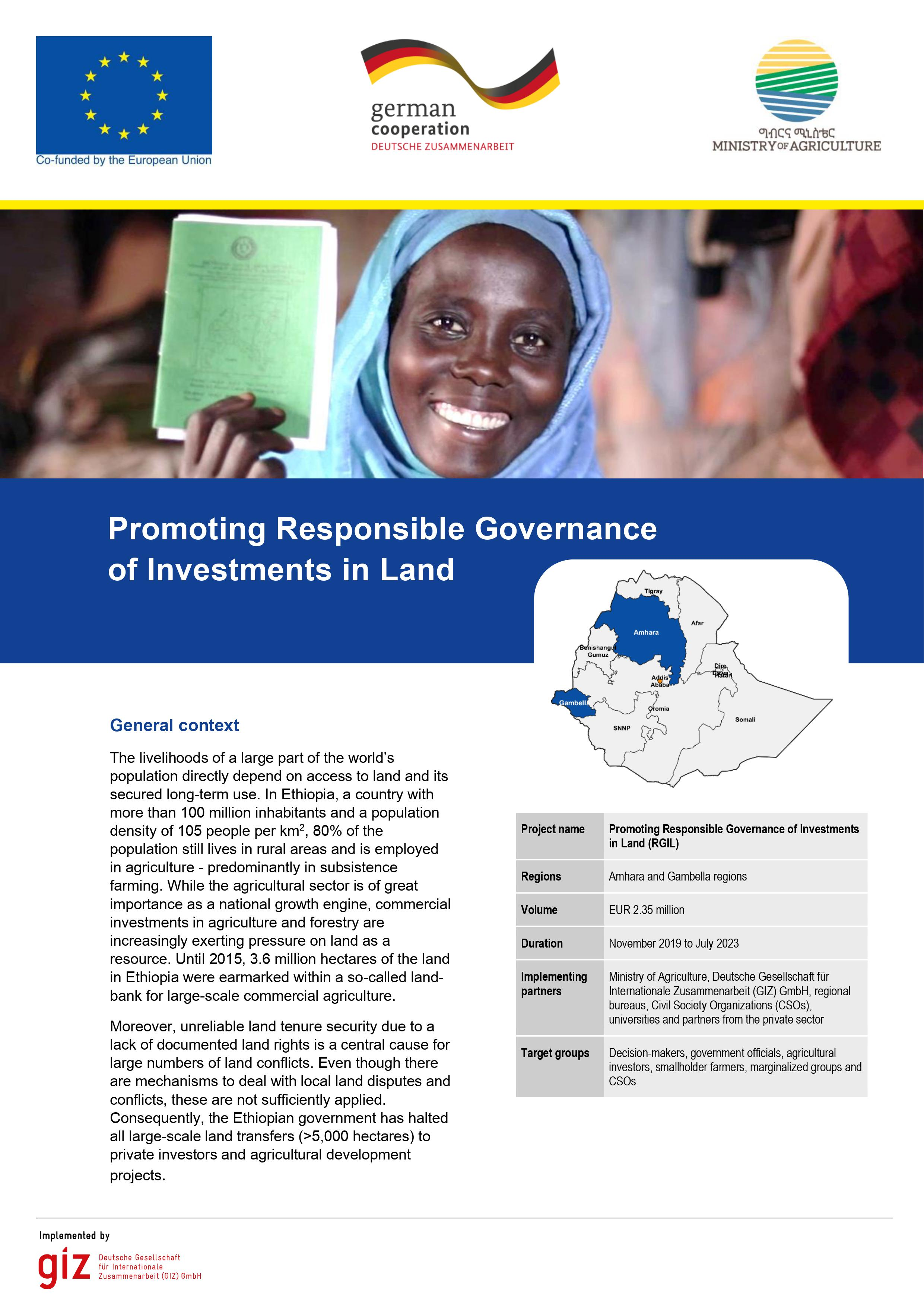Promoting Responsible Governance of Investments in Land (RGIL) in Ethiopia
