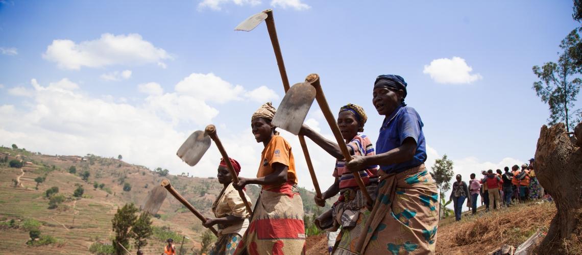 Women create terraces in Rwanda