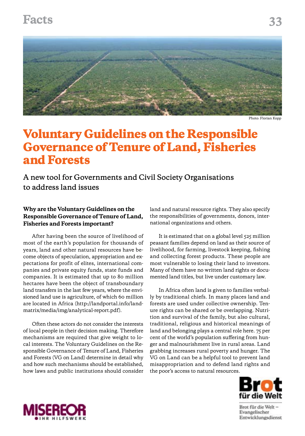 Facts 33: Voluntary Guidelines on the Responsible Governance of Tenure of Land, Fisheries and Forests cover image