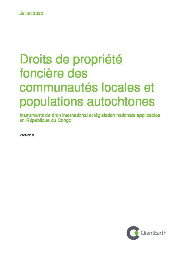 Droits de propriété foncière des communautés locales et populations autochtones en République du Congo