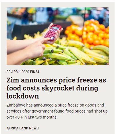 Zimbabwe announces food price freeze