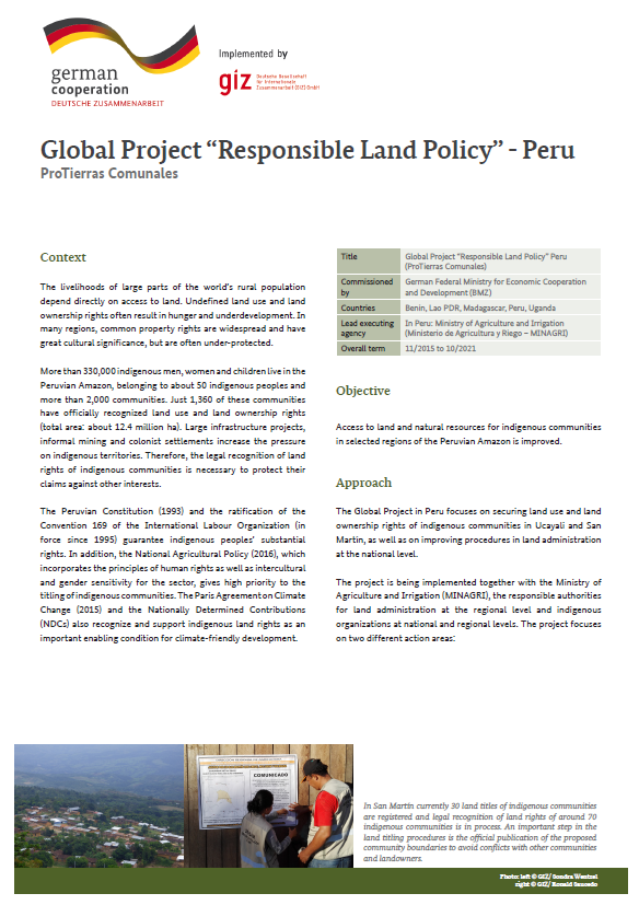"Peru Factsheet Global Project ""Responsible Land Policy"""