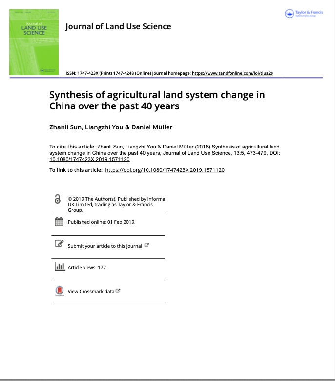 Synthesis of agricultural land system change in China over the past 40 years