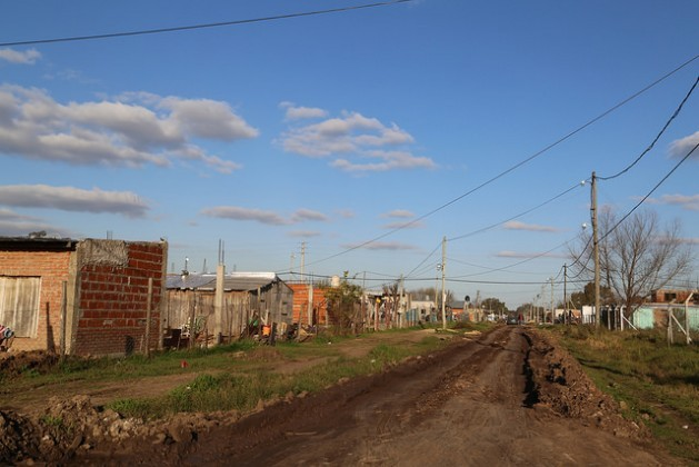 A street in Hornos, a low-income neighbourhood on the west side of Greater Buenos Aires, where local residents are waiting to receive the deeds to their property, as the key to access to other rights and public services that will provide them with a digni
