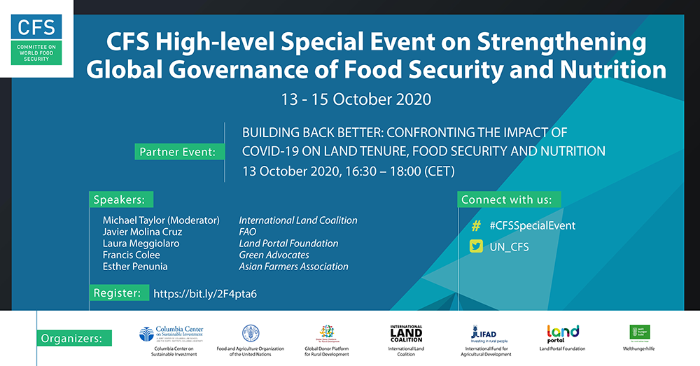 BUILDING BACK BETTER: CONFRONTING THE IMPACT OF COVID-19 ON LAND TENURE, FOOD SECURITY AND NUTRITION