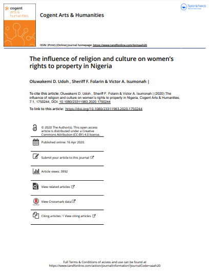 The influence of religion and culture on women's rights to property in Nigeria