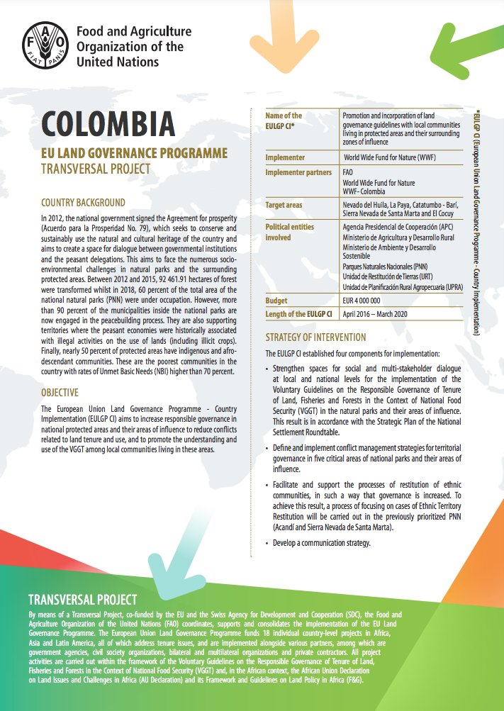 EU Transversal support to country implementation - Colombia