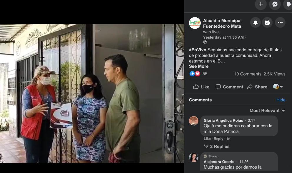 Delivering Land Titles on Facebook Live in Colombia