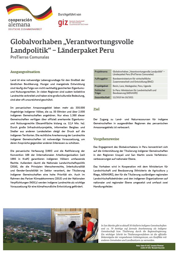 Factsheet Peru GP Land Policy Deutsch
