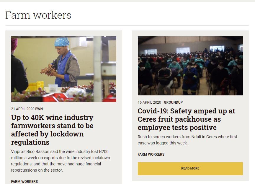 South Africa Land News Farm Workers 31 March - 26 April 2020