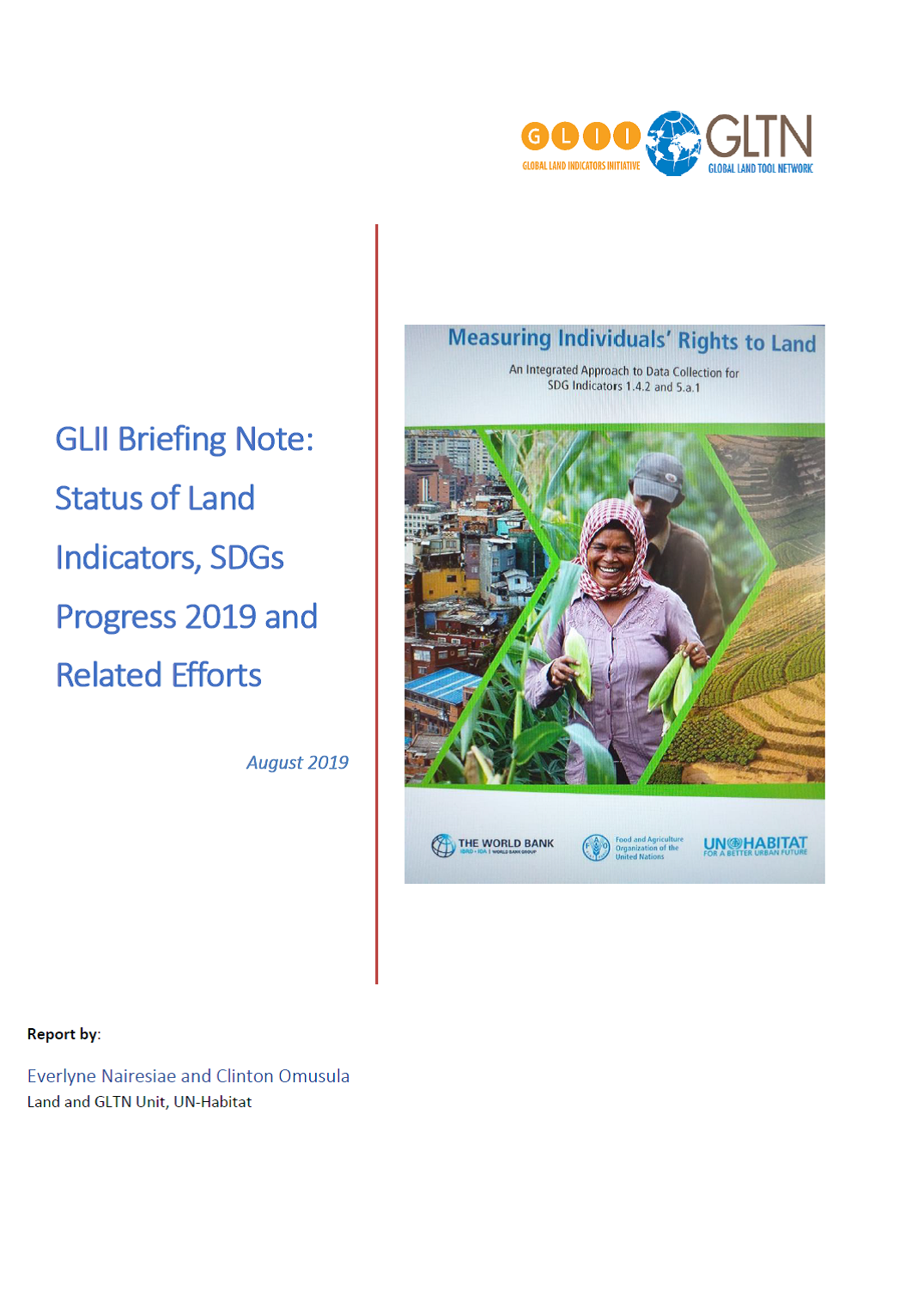 GLII Briefing Note: Status of Land Indicators, SDGs Progress 2019 and Related Efforts