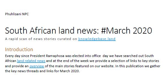 South African land news March 2020