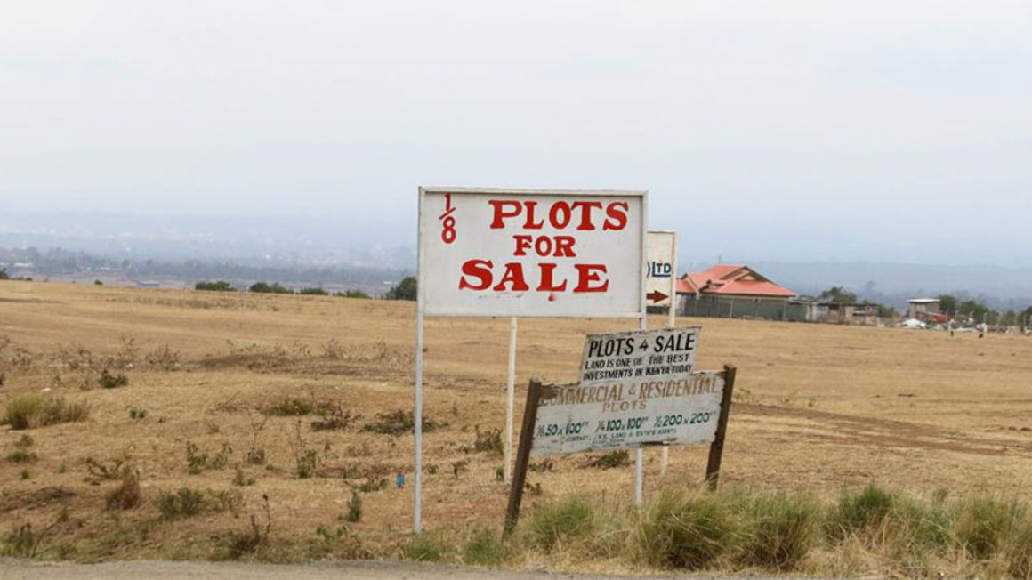 A sign post advertising land for sale in Kieni on July 22, 2015. PHOTO   JOSEPH KANYI