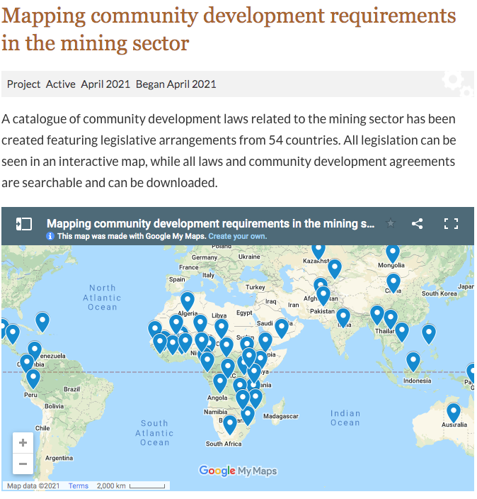 Mapping community development requirements in the mining sector
