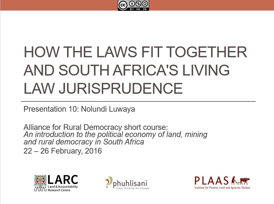 South Africa's living law jurisprudence - Nolundi Luwaya