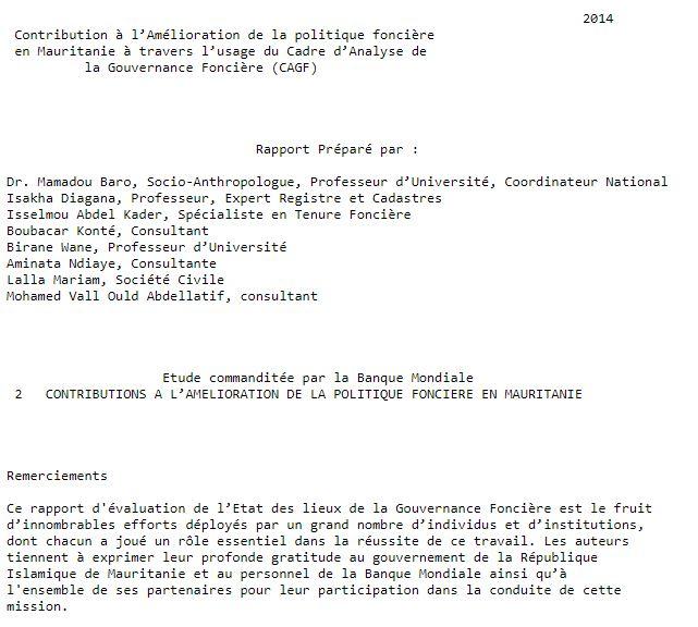 Contribution à l'Amélioration de la politique foncière  en Mauritanie à travers l'usage du Cadre d'Analyse de la Gouvernance Foncière (CAGF)