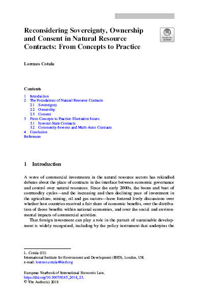 Reconsidering Sovereignty, Ownership and Consent in Natural Resource Contracts: From Concepts to Practice