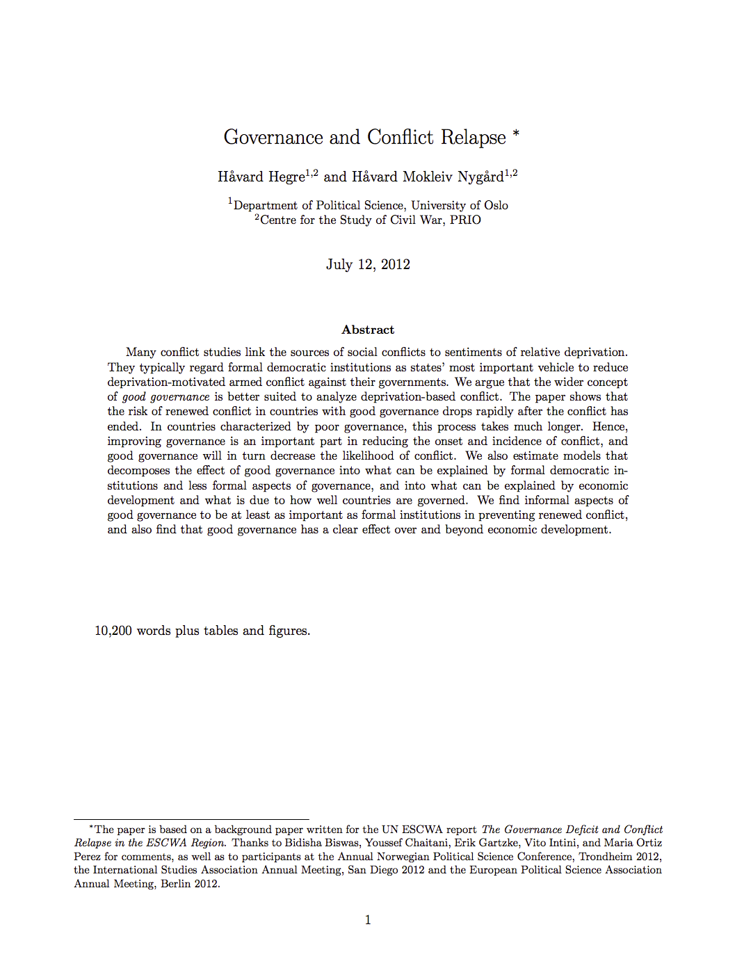 Governance and Conflict Relapse cover image