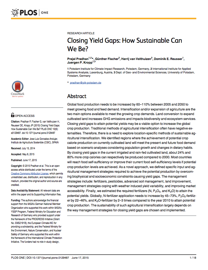 Closing Yield Gaps: How Sustainable Can We Be? cover image