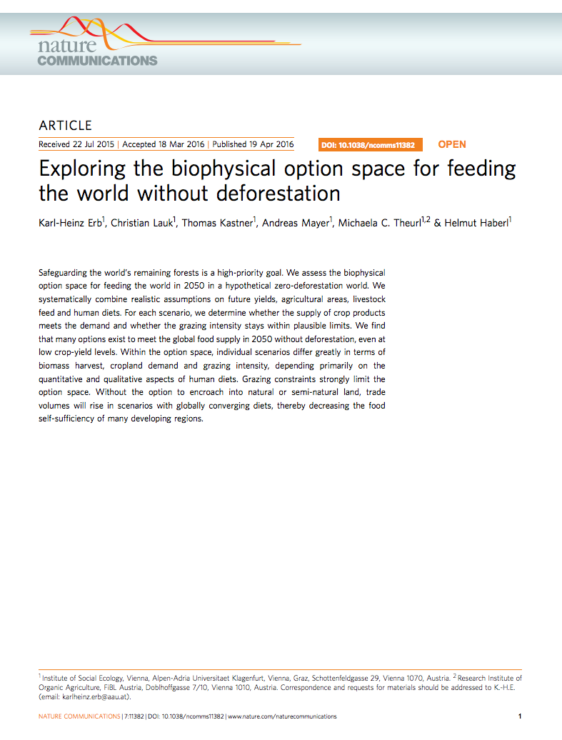 Exploring the biophysical option space for feeding the world without deforestation cover image