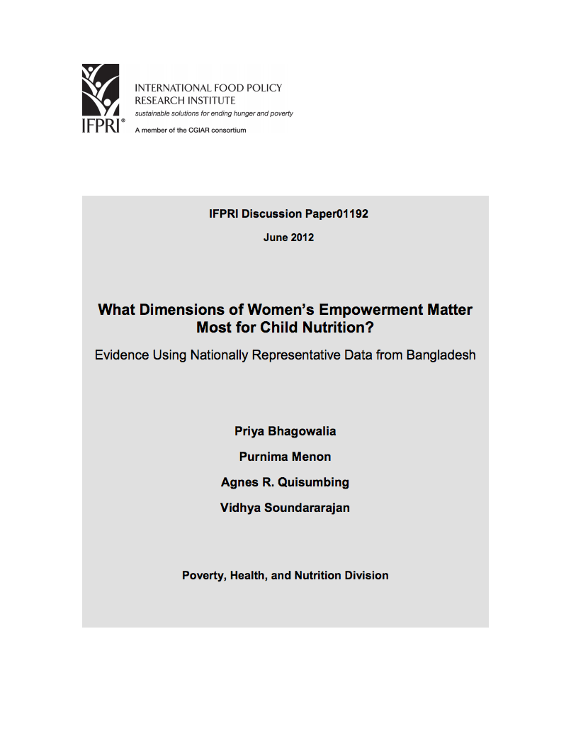 What Dimensions of Women's Empowerment Matter Most for Child Nutrition? cover image