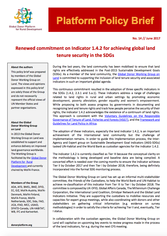 Platform Policy Brief: Renewed commitment on Indicator 1.4.2 for achieving global land tenure security in the SDGs cover image