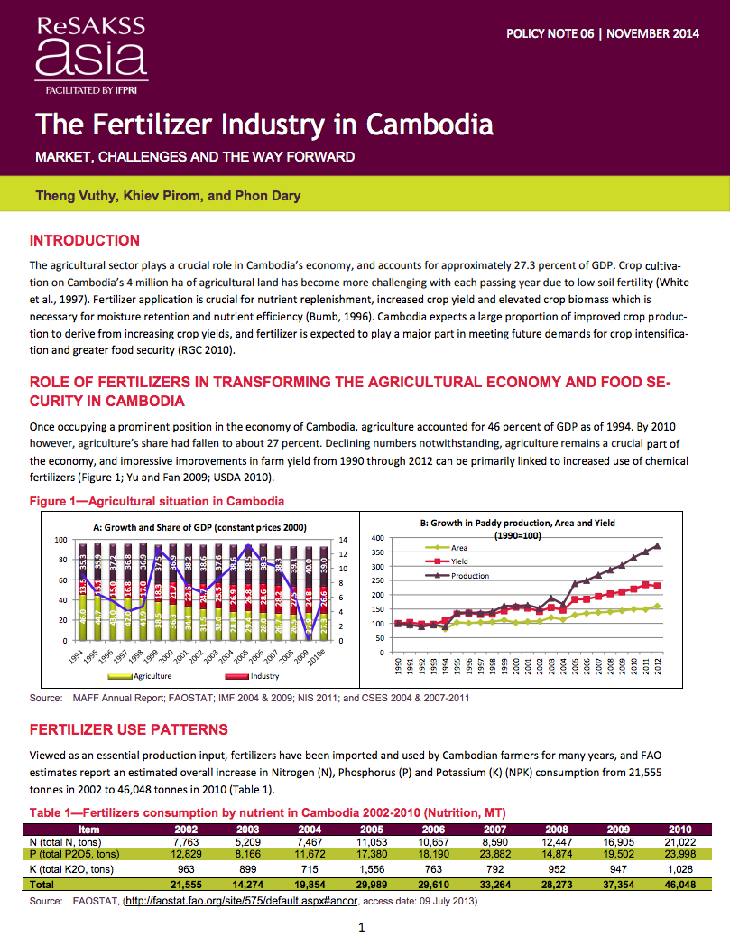 The fertilizer industry in Cambodia: Market, challenges and the way forward cover image