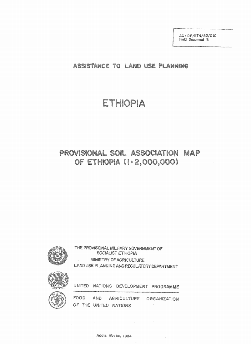 Assistance to Land Use  Planning: Ethiopia. Provisional Soil Association Map of Ethiopia cover image