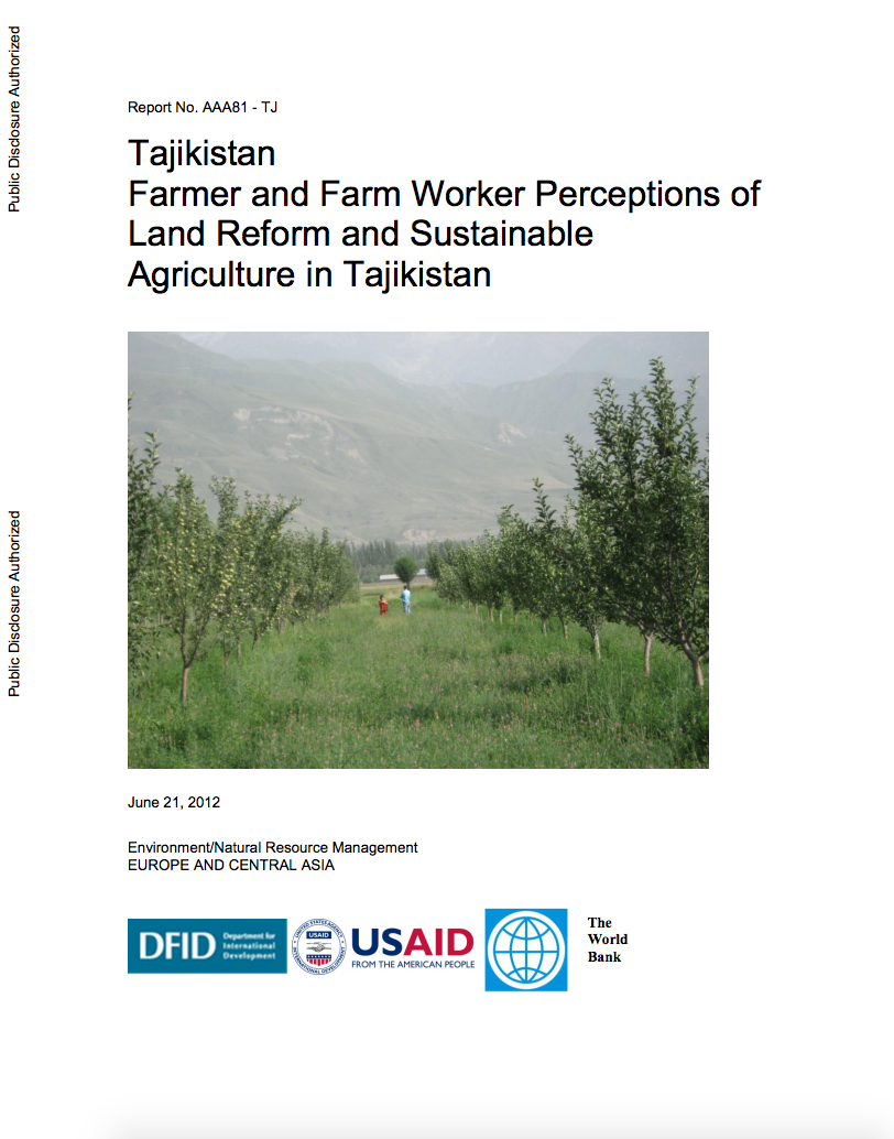 Farmer and Farm Worker Perceptions of Land Reform and Sustainable Agriculture in Tajikistan cover image