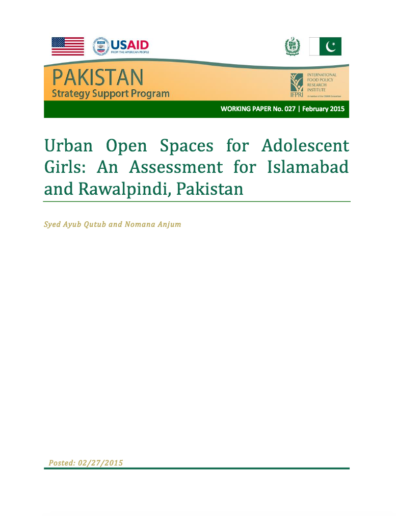 Urban open spaces for adolescent girls: An assessment for Islamabad and Rawalpindi, Pakistan cover image