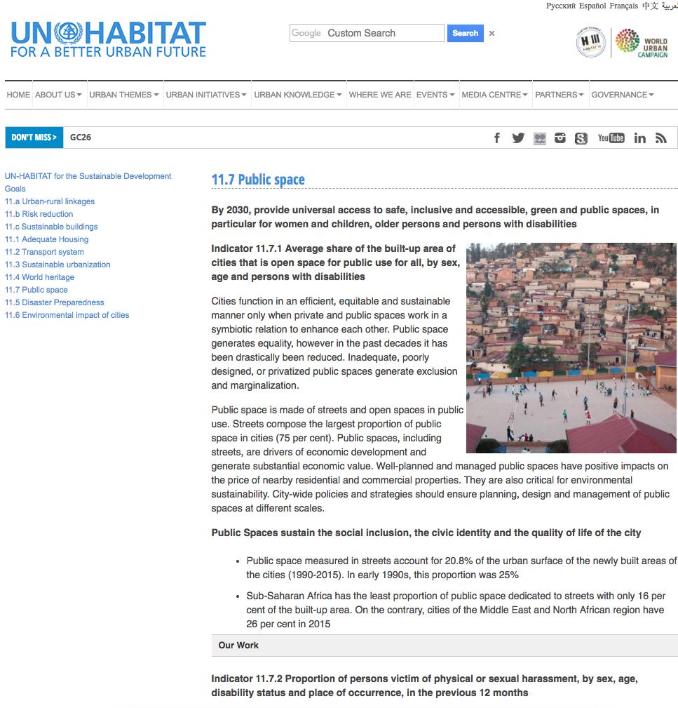 UN-Habitat - SDG 11.7 Public space cover image