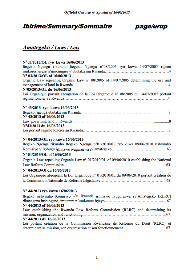 Law N° 03/2013/OL of 16/06/2013 Organic Law repealing Organic Law n° 08/2005 of 14/07/2005 determining the use and management of land in Rwanda. cover image