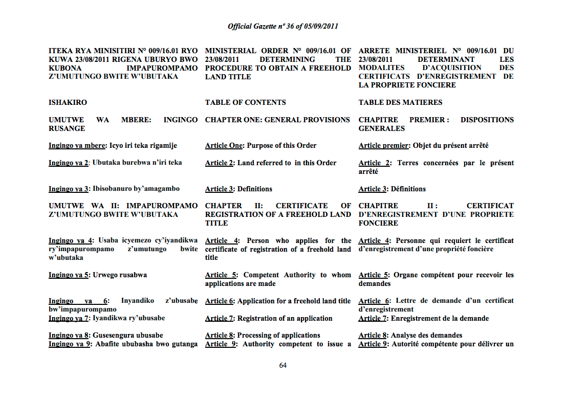 Ministerial Order N° 009/16.1 of 23/8/2011 Determining the Procedure to Obtain Freehold Land Title. cover image