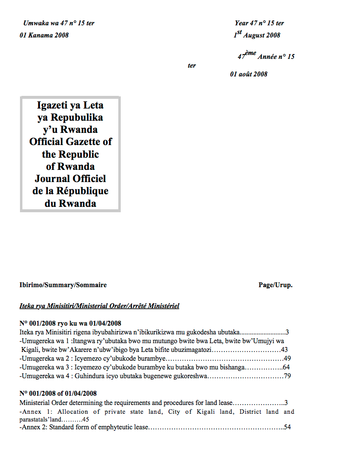 Ministerial Order N° 001/2008 of 01/04/2008 Determining the Requirements and Procedures for Land Lease. cover image